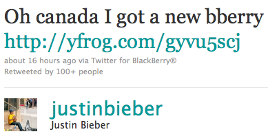 justin bieber blackberry Justin har fått en BlackBerry