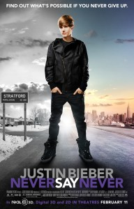 neversaynever poster 192x300 Justin Bieber tar över Michael Jacksons titel som the King of Pop i framtiden?