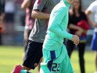 Justin Bieber spelar fotboll i Barcelona