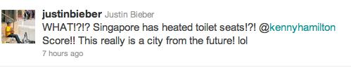 justin bieber singapore toalett Justin gillar Singapores uppvärmda toalettstolar