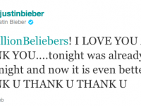 Justin Bieber har över 11 miljoner följare på Twitter!