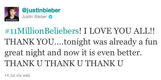justin bieber 11 miljoner followers twitter Justin Bieber har över 11 miljoner följare på Twitter!