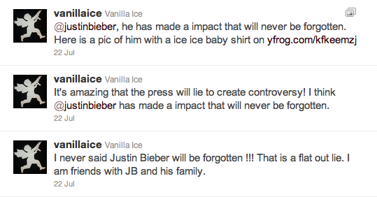 vanilla ice twitter bieber Vanilla Ice: Jag har aldrig sagt att JB kommer bli bortglömd!