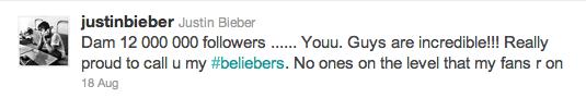 justin bieber twitter 12 miljoner followers Bieber har nu 12 miljoner followers på Twitter