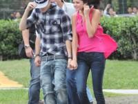 Justin Bieber och Selena Gomez åker helikopter i Brasilien