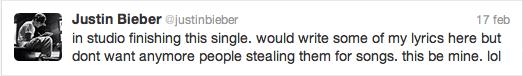 justin bieber singel believe twitter Justin är snart klar med kommande singeln